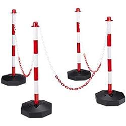 Relaxdays 10020484 4 Poteaux de signalisation et délimitation avec chaînes barrière de parking 82 x 112 x 28 cm Rouge-gris