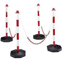 Relaxdays - 4 Barreras/Postes de Aparcamiento, Hecho de plástico, 82 x 112 x 28 cm, Las Bases se Puede Rellenar con Agua o Arena para más Estabilidad, 3 Cadenas, Color Rojo y Blanco