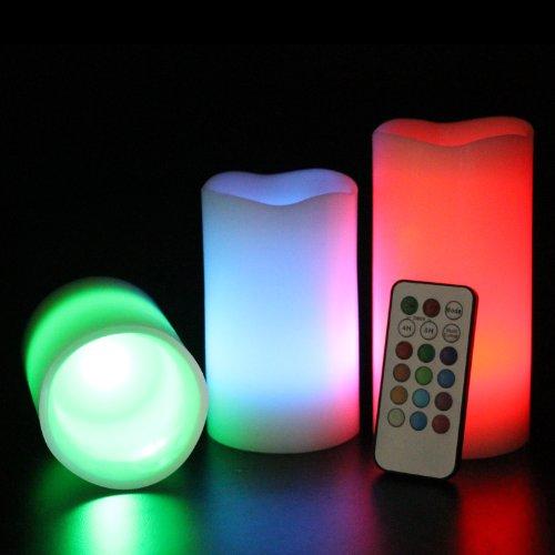 Frostfire Mooncandles - 6014 - Velas decorativas con luz (olor a vainilla, con mando, 3 unidades de 10, 13 y 15 cm)