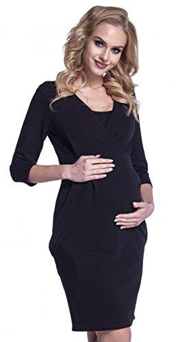 Happy Mama. Para Mujer Vestido Sudadera en Capas Premamá de Lactancia. 055p (Negro, EU 44/46, 2XL)