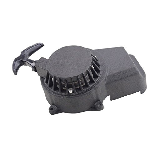 GOOFIT Negro de aluminio de extracción fácil Asamblea motor de arranque para 47cc 49cc 2 tiempos engranaje de arranque bici de la suciedad de inicio bici del bolsillo del arrancador de retroceso