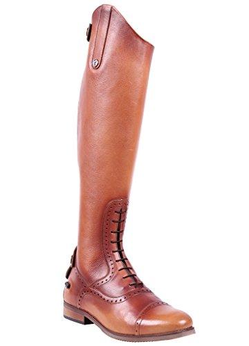 QHP Damen Luxus Leder-Reitstiefel Sophia Weite Wadenweite Größe 36-42 (39, Cognac)