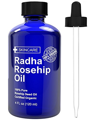 Radha Beauty Hagebuttenöl - 100% reines kaltgepresstes zertifiziertes Bio (4 flüssige Unzen) Radha Beauty Rosehip Oil - 100% Pure Cold Pressed Certified Organic (4 fluid ounces) - Bio-4-unzen-flasche
