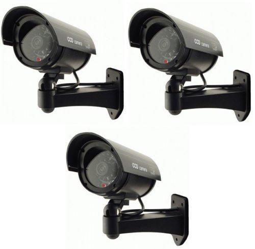 Ezi-Tech 3x Outdoor Dummy Fake LED Flashing Security Camera CCTV Surveillance Imitation