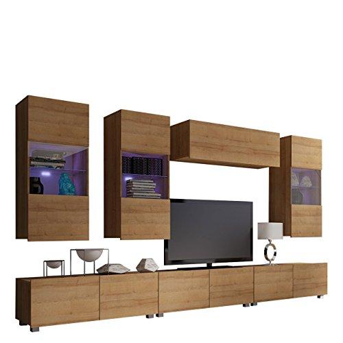 Moderne Wohnwand Calabrini XI, Anbauwand, Hängevitrine, TV Lowboard, Wandregal, Mediawand, Wohnzimmerschrank, Fernsehschrank