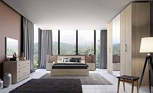 Salone armadio in legno olmo e bianco graffiato con 6 ante con e armadi con specchi 240x53 236h. (quercia + specchio)
