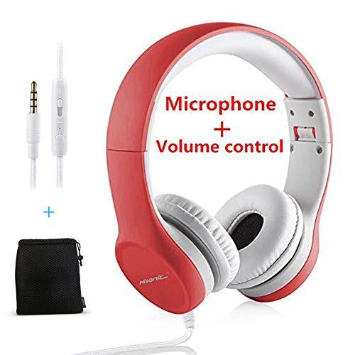 Hisonic Casque enfants,Capacité limitée Écouteurs sur l'oreille Casque pliable avec connecteur Share pour garçons, filles (Rouge)