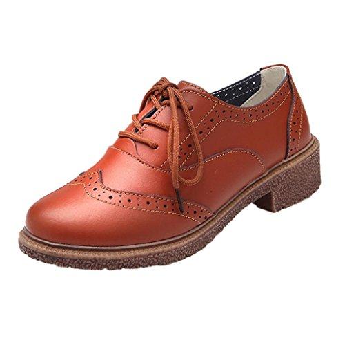 Clode® Damen Schuhe Retro Schuhe mit dicken Oxford Schnürhalbschuhe Braun