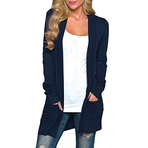 Strickjacke Damen Kolylong Frauen Elegant Einfarbig Lang Strickjacke mit Tasche Herbst Warm Strickmantel Slim Outwear Wasserfall Jacke...