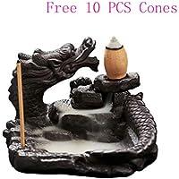 Quemador de incienso con reflujo de dragón de cerámica para el hogar, con 10 conos de incienso de reflujo