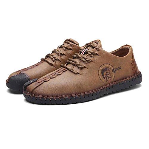 Juleya Souliers Simple D'homme - Mocassins Chaussures Confortables Baskets Basses Baskets Slip On Mocassins Casual En Cuir Chaussures De Loisirs Marron (cordones)