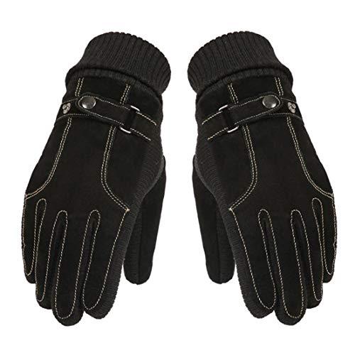 Handschuhe Winter Leder plus Samt Handschuhe Touchscreen Radfahren Baumwollhandschuhe DFHJSXD -