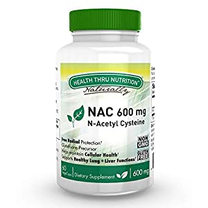 41XIkNfbWhL. SS300  - NAC N-Acetyl-Cysteine Capsules / NAC 600mg, 60 Vegetarian Caps - Supports Healthy Lung & Liver Functions | Maintains Overall Cellular Health - Non GMO antioxidant From Health Thru Nutrition