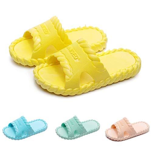 Dorical Badelatschen Kinder Unisex Badeschuhe Jungen Dusch-& Badeschuhe Badelatschen Mädchen rutschfeste Badeschlappen Weich Pantoletten Hausschuhe Sommer Strand Sandale Slipper(Gelb,30 EU)