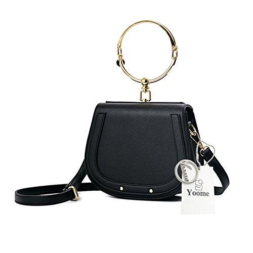 Yoome Elegante Nieten Punk Style Circular Ring Griff Handtaschen Messenger Crossbody Taschen Für Mädchen (Mädchen Crossbody-tasche)