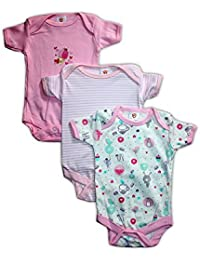 f489cd7a1363 Mini Berry Baby Rompers Short Sleeves 3 Pcs Summer Suit For Baby Girls  (Print May