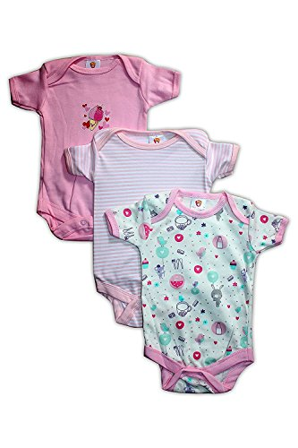 Mini Berry Baby Rompers Short Sleeves 3pcs Summer Suit For Baby Girls (Print May Vary) (6-9 Months)