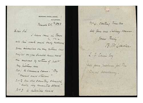 Benjamin Williams Leader : autograph letter signed, March 25th 1893 -