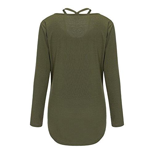 Bigood T-shirt Manche Longue Femme Coton Haut Top Epaule Nue Chemise Plage Casual Mode Vert