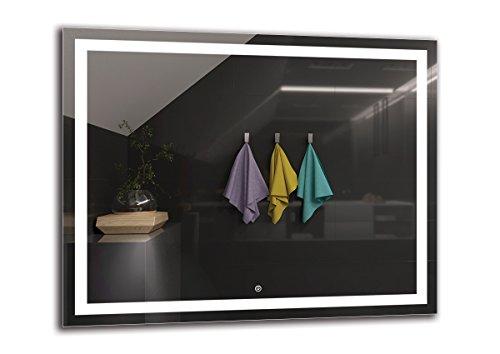 LED Spiegel Deluxe - Spiegelmaßen 100x80 cm - Touch Schalter - Berührungsschalter - Badspiegel - Wandspiegel Lichtspiegel - Fertig zum Aufhängen - ARTTOR M1ZD-47-100x80 - Lichtfarbe Weiß kalt 6500K