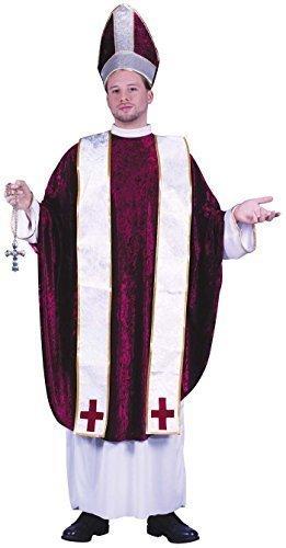 Herren 4 Piece Kardinal Priester Religiös Pfarrer und Torten Kostüm Kleid Outfit