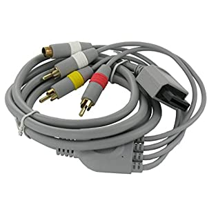 S-Video AV + RCA Composite Chinch Kabel für Nintendo Wii 1,8m Grau