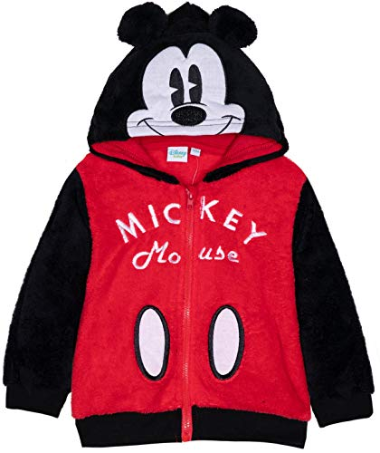Mouse Kostüm Mickey Charakter - Disney Mickey Mouse Kapuzenpullover für Jungen und Mädchen, Fleece, warm, mit Ohren und Charaktergesicht, 3 Monate - 24 Monate