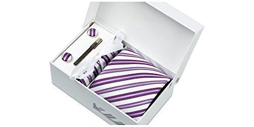 Coffret Venise - Cravate blanche satin mat, à rayures violettes claires et foncées, boutons de manchette, pince à cravate, pochette de costume