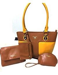Hema Arts & Crafts Designer Glossy Hand Bags For Women/Girls(\BROWN)