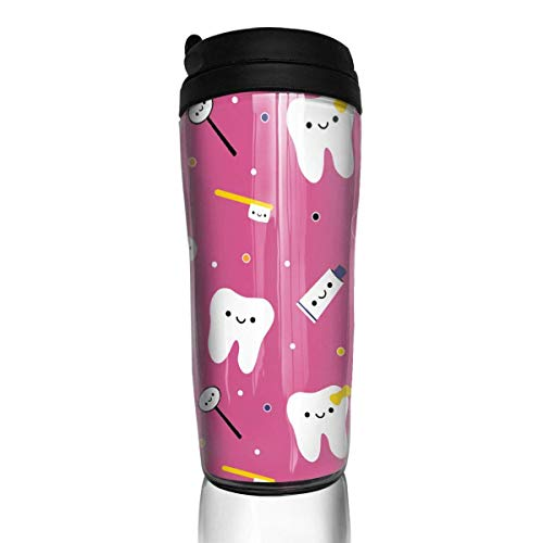 Travel Coffee Mug Dentistry Happy Teeth Friends 12 Oz Spill Proof Flip Lid Water Bottle Environmental Protection Material ABS