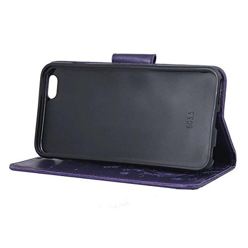 iPhone 6 Hülle, iPhone 6S Hülle, Lifeturt [ Rot ] Luxus PU Leder Brieftasche Flip Case Cover Schütz Hülle Abdeckung Ledertasche mit Standfunktion Karteneinschub und Magnetverschluß Etui Flip Case für  E02-Lila