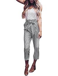 SANFASHION Pantalons Taille Haute Volanté Femme Office Rayé Pantalons à la  Cheville Carotte Ceinture Décontracté Jambe 7beb7c4bf0e5