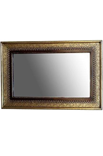 Orient Spiegel Wandspiegel Wedat 110cm groß Gold | Großer Marokkanischer Flurspiegel mit Holzrahmen orientalisch verziert | Orientalischer Vintage Badspiegel ohne Beleuchtung ALS Orientalische Deko