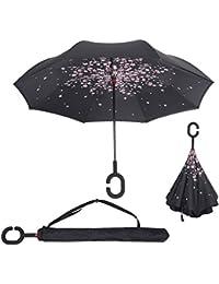 BP@ Manos en forma de C innovadora inversa Paraguas libre de la manija paraguas de