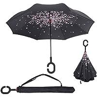Baby Pig Parapluie, avec mécanisme d'ouverture inversé, double épaisseur, résistant au vent et poignée en forme de C - Très pratique en cas de forte pluie - 106 cm, fleur de cerisier