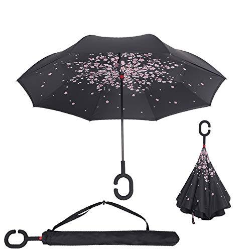 Paraguas Invertido,Plegable,Reversible, con Mango en Forma de C Invertida. Paraguas de Doble Capa a Prueba de Viento (106 cm) (Flor de Cerezo)