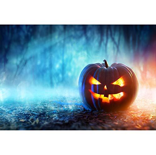 OERJU 2,7x1,8m Halloween Hintergrund Kürbislaterne Düsterer Wald Mondlicht Hintergrund Halloween Party Fotografie Süßes oder Saures Kinder Party Banner Dekoration Porträt Requisiten