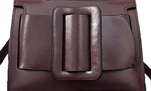 La Signora Grande Fibbia Della Cintura Borsa Messenger Pelle Decorata Brown