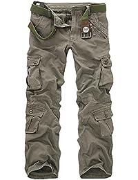 MILEEO Homme Cargo Pantalons Loisir Travail-Multi Poches Vintage Style  Combat Militaire Pants (Sans b3613215af5