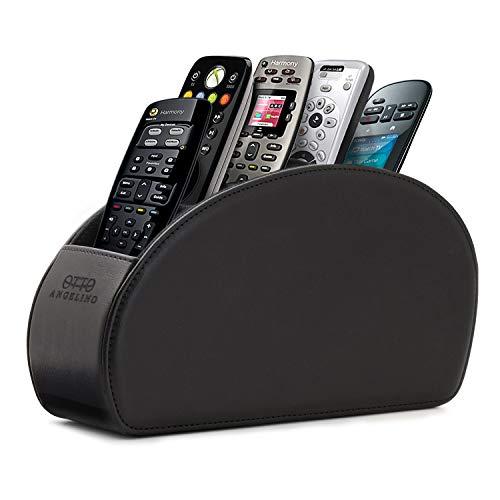 Londo Fernbedienungshalter mit 5 Taschen - Platz für DVD, Blu-Ray, TV, Roku oder Apple TV Fernbedienungen - Leder mit Wildleder Futter - für die Aufbewahrung im Wohn- oder Schlafzimmer - Schwarz (Fernbedienungen Halter)