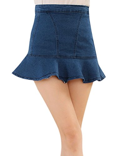 sourcingmap® Frauen zappelnd Saum hoch Taille Reißverschluss Rückseite & Flare Rock Blau M (Saum-jeans-rock)
