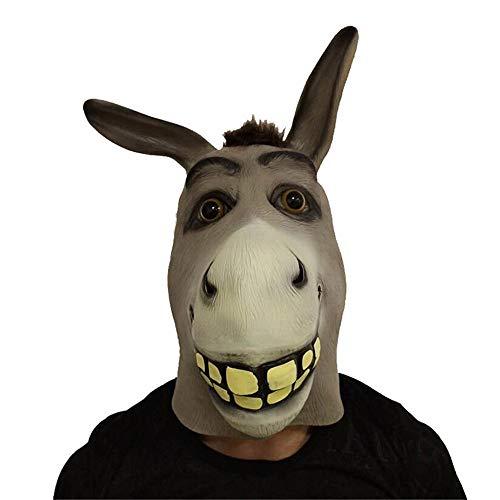 LYFWL Esel Halloween-Maske-Tanz-Drama Performance Lustiges Pferd Esel-Tierhauben Latex-Maske
