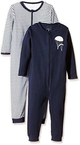 NAME IT Baby-Jungen Schlafstrampler NITNIGHTSUIT ZIP M B NOOS, 2er Pack, Gr. 104, Mehrfarbig (Dress Blues)