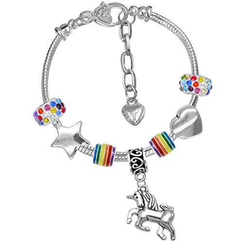 Charm Buddy Niñas Unicornio mágico brillante del arco iris del encanto de la pulsera con la tarjeta de felicitación y caja de regalo