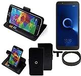 K-S-Trade® Case Schutz Hülle Für -Alcatel 1C Single SIM- + Bumper Handyhülle Flipcase Smartphone Cover Handy Schutz Tasche Walletcase Schwarz (1x)
