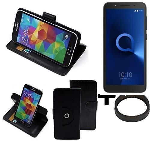 K-S-Trade® Case Schutz Hülle für Alcatel 1C Single SIM + Bumper Handyhülle Flipcase Smartphone Cover Handy Schutz Tasche Walletcase schwarz (1x)