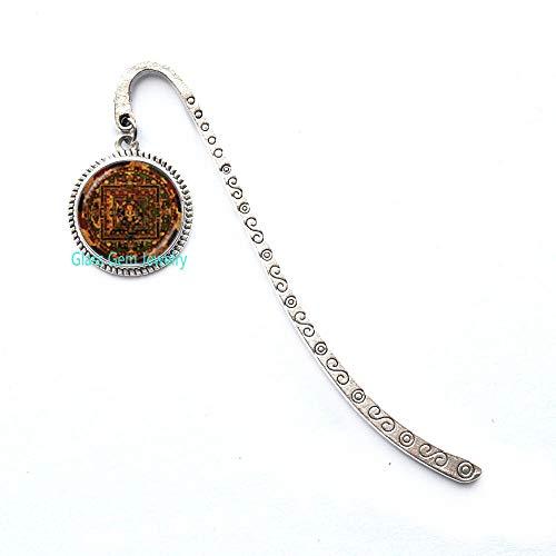 Segnalibro Sri Yantra Mandala con motivo geometrico sacro, segnalibro Sri Yantra, gioielli buddisti, regalo per yoga, Q0237