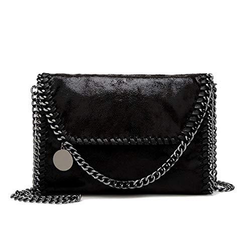 Chanel Damen Accessoires (wewo 2017 Damen umhängetasche klein Schultertasche mädchen Henkeltasche Einfarbig Handtasche Leder Abendtasche Shopper kettentasche (schwarz-b))