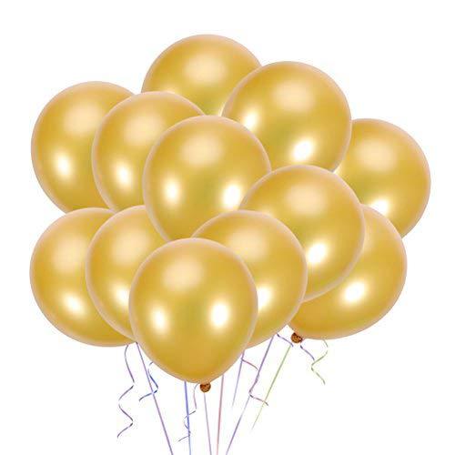 VORCOOL 100 unids Glob de Perla de Látex Decoración de Fiesta de Cumpleaños de Boda 10 Pulgadas (Dorado)