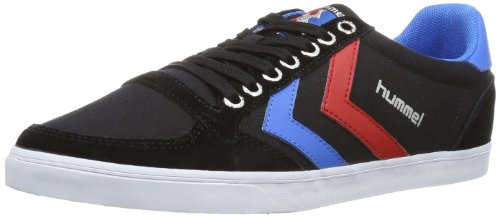 Hummel slimmer stadil low, sneaker, uomo, nero (black/blue/red/gum 2640), 36
